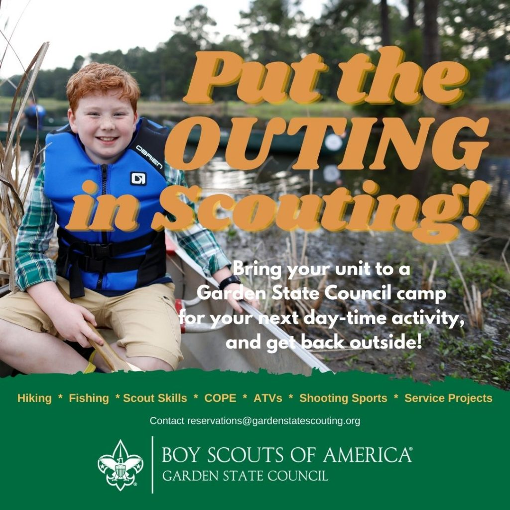 A Scout enjoys canoing on an ad that reads Put the Outing in Scouting