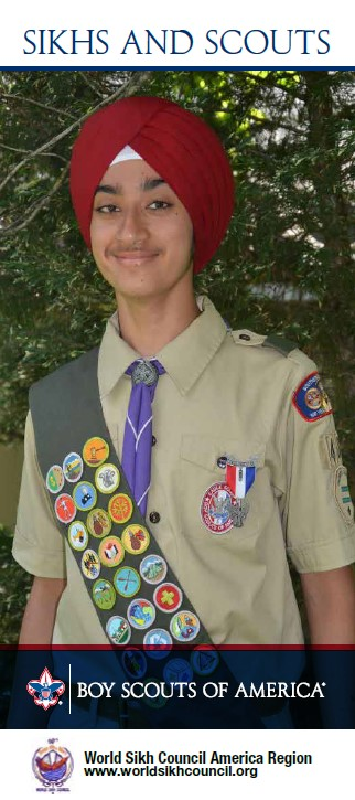 Brochure cover for Sikhs and Scouting depicts a smiling Sikh Eagle Scout