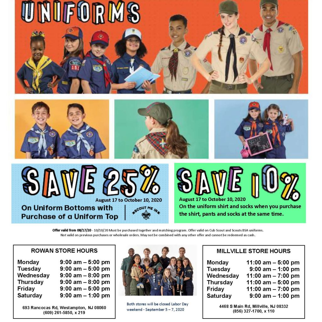 Flyer for the late summer 2020 uniform sale