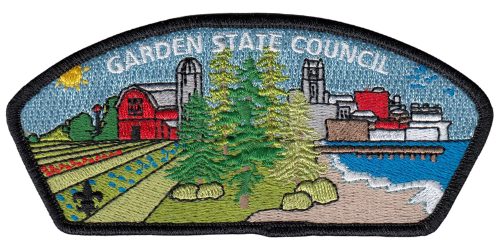 The Council Shoulder Patch for Garden State Council BSA shows the diverse landscapes of South Jersey, including farms, pine barrens, city, and the bank of the Delaware River.