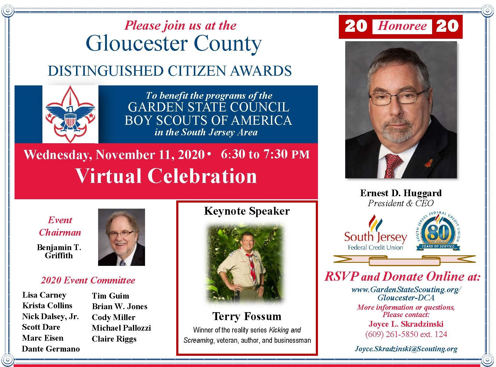 Garden State Council BSA's Gloucester County Distinguished Citizen of the Year for 2020 is Ernest D. Huggard, who will be celebrated on 11/11 at a virtual celebration.
