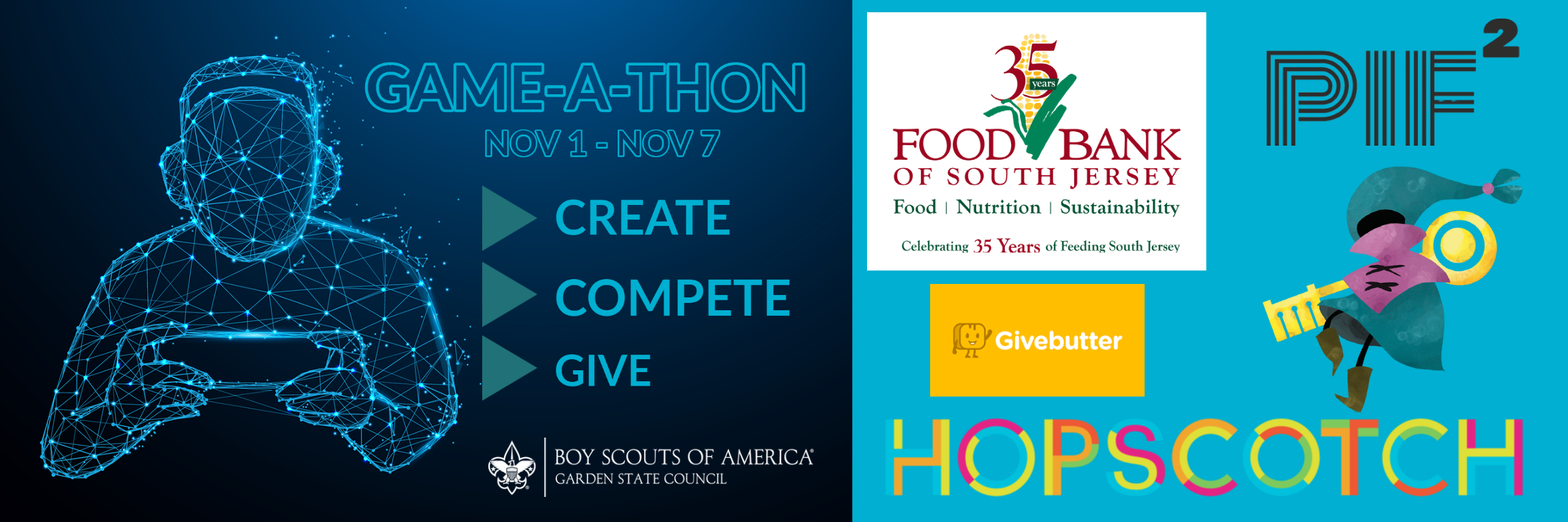 Game-A-Thon to fight hunger, Nov 1 to Nov 7, brought to you by Garden State Council, BSA, and PiF Squared to benefit the Food Bank of SJ.