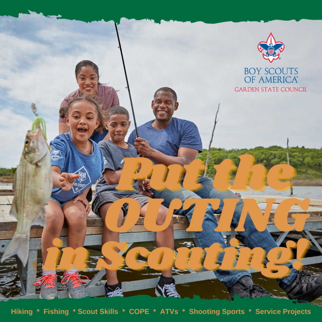 A happy family is fishing from a dock and putting the Outing in Scouting.
