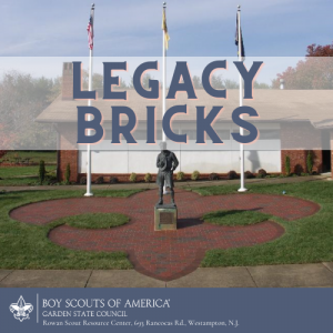 The Rowan Scout Resource Center in Westampton, NJ, features a brick walkway in the shape of the Scouting fleur di lis comprised of sponsored bricks.