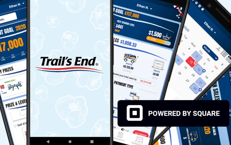 The Trails End app for popcorn sellers offers free credit card processing and more. Text APP to 62771 to get the Trails End app.