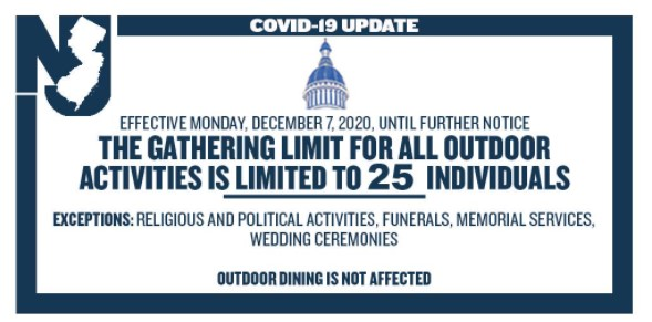 Beginning December 7, 2020, outdoor gatherings will be limited to no more than 25 people, per order of Governor Murphy.