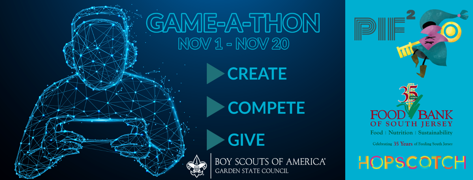 Game-A-Thon will run November 1 through November 20, 2020, for Scouts to Create, Compete, and Give to Scouting and the Food Bank of South Jersey through mobile app gaming.