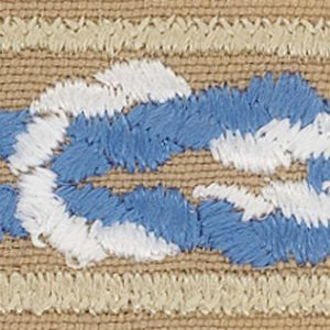 The Silver Beaver award patch is a khaki rectangle with a light blue and white knot