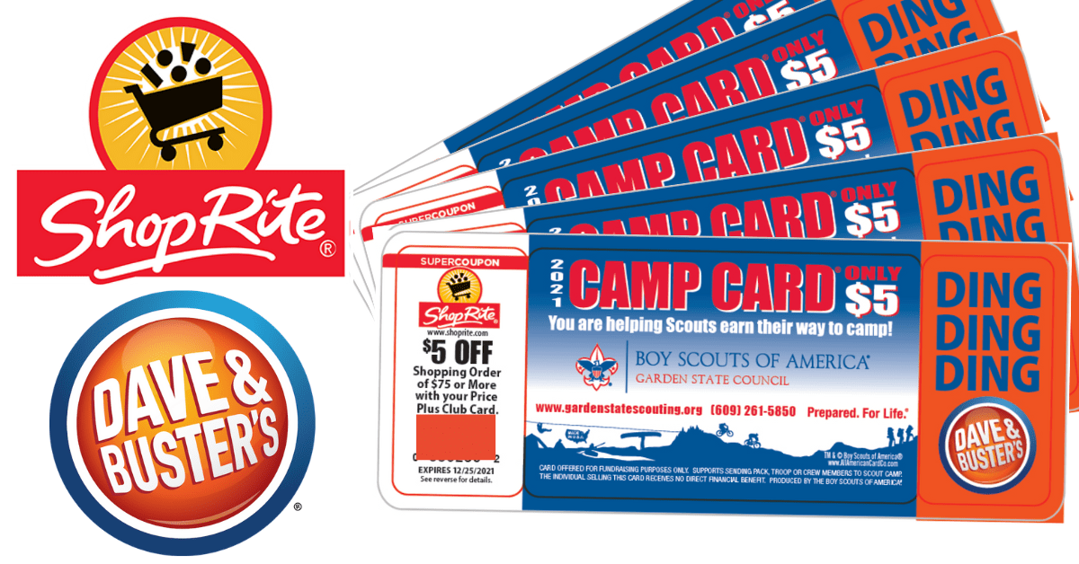 2021 Camp Cards for Garden State Council features coupons from Shop Rite and Dave & Buster's