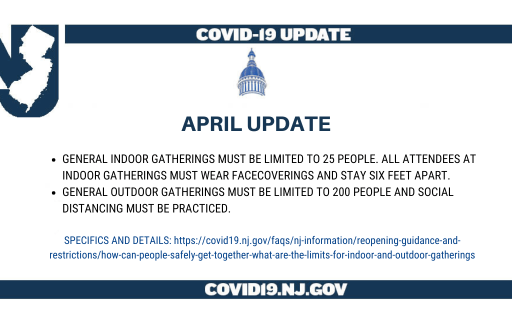 COVID-19 April update from NJ regarding the indoor and outdoor gathering limits
