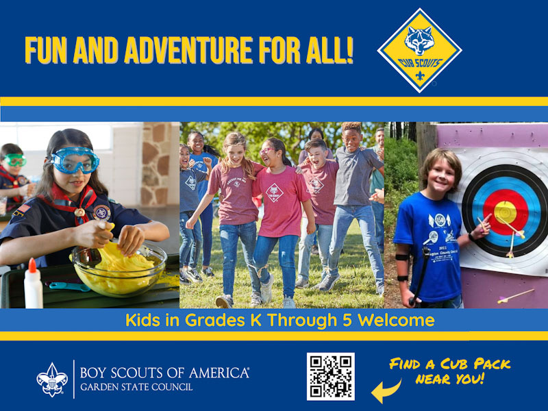 pictures of kids in grades K through 5 having fun with science, games, archery, and the hands-on activities available through Cub Scouts with Garden State Council, BSA