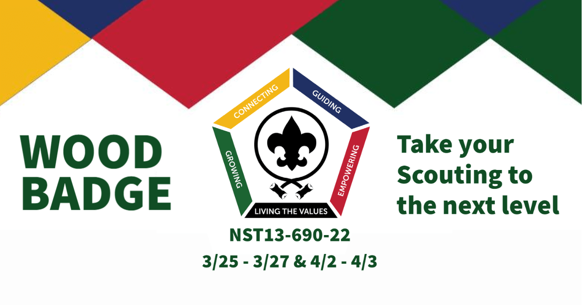 Wood Badge Training 2022 at Garden State Council will take place in March and April